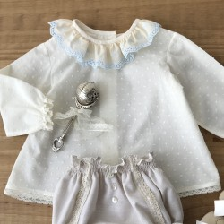Baby Shirt Plumeti and blue lace