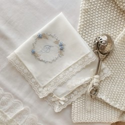 Hand embroidered Hankie - Blue